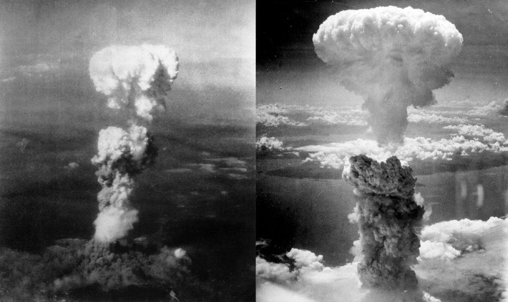Hình ảnh hai quả bom phát nổ tại hai thành phố Hiroshima và Nagasaki nhờ sự phát minh Einstein