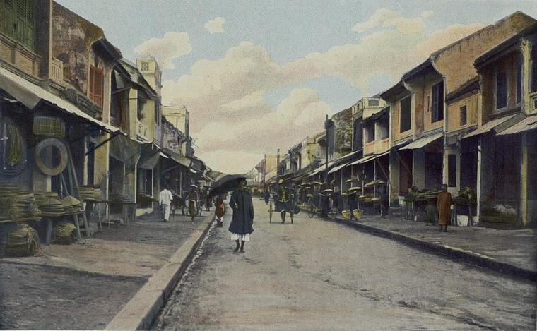 Phố Hàng Ảnh tô màu cực quý về Đông Dương năm 1903Nón, Hà Nội.