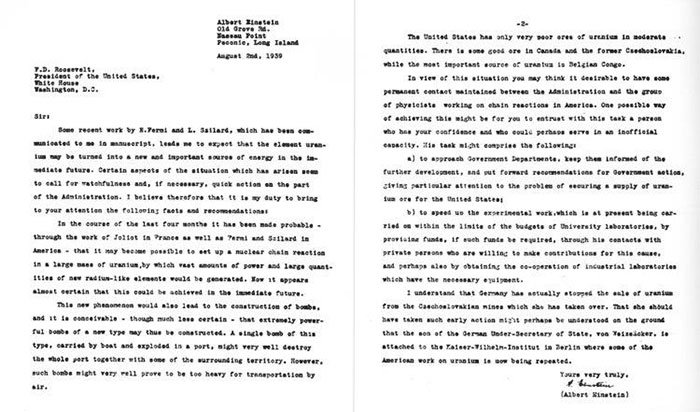 Bức thư được Szilard soạn gửi đến tổng thống Mỹ với sự đồng thuận của Einstein