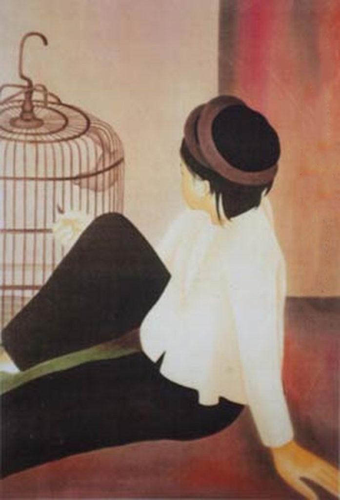nghệ thuật tranh lụa cô gái đang nhìn về chú chim nghĩ đến tương lai của mình