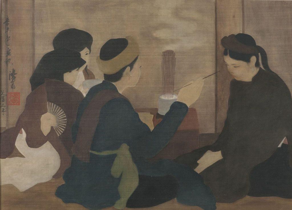 nghệ thuật tranh lụa về những người phụ nữ lên đồng