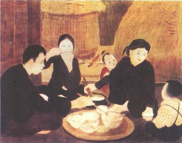nghệ thuật tranh lụa gia đình đang ăn cơm
