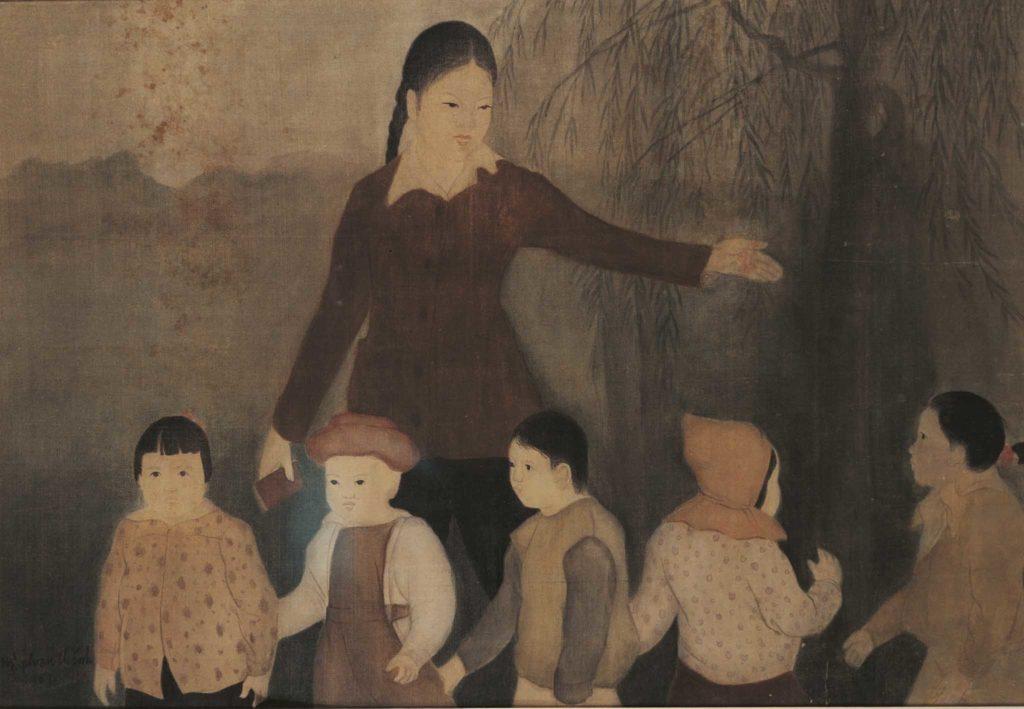 nghệ thuật tranh lụa cô giáo dẫn hõ trò đến lớp