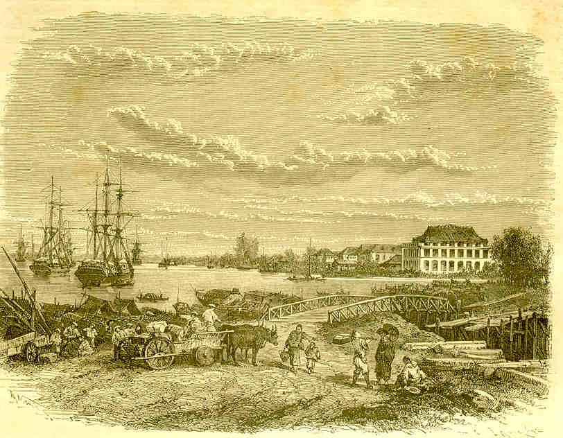 Khu vực cảng Sài Gòn và tòa nhà của công ty vận tải Messageries Maritimes (Nhà Rồng), Sài Gòn năm 1872. Ảnh: Tour du Monde.