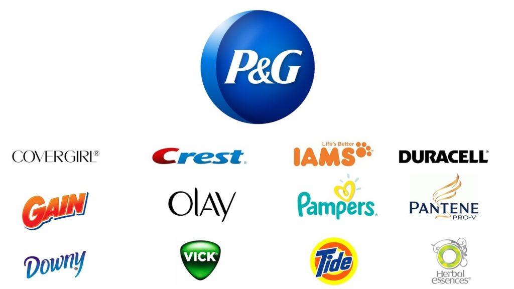 các thường hiệu P&G, Downy. Tide, Vick, Pantene