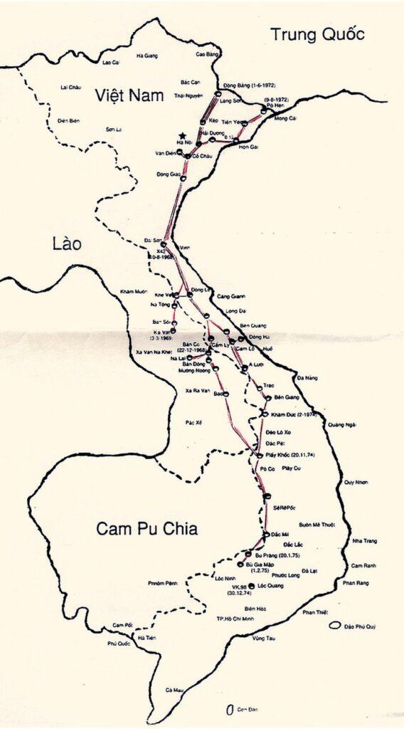 Bản đồ đường ống xăng dầu Trường Sơn dài 5000km trải dài từ hai ngã thuộc biên giới Việt - Trung là Lạng Sơn và Quảng Ninh; hai tuyến đường ống cùng dẫn về trạm Nhân Vực, thuộc huyện Thường Tín, Hà Nội trãi dài và hội tụ tại trạm cuối cùng ở Bù Gia Mập, thuộc tỉnh Phước Long, Đông Nam Bộ